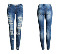 Wholesale New Hot Fashion Ladies Pants Stretch Womens Bleach Ripped Skinny Jeans