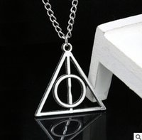 Wholesale Harry Potter Necklaces Luna Deathly Hallows Triangle Circular Pendant Vintage Long Necklaces