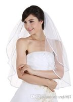 Wholesale 1T Tier Pearls Crystals Beaded Wedding Veil