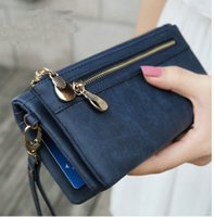 Portefeuille double portefeuille France-Fashion Women Wallets Dull Polish Leather Wallet Double Zipper Day Clutch Purse Wristlet Coin Purse Card Holder Billetera