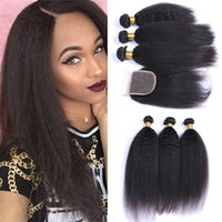 Wholesale 9A Brazilian Kinky Straight Hair With Closure Human Hair Bundles Italian Coarse Yaki With X4 Free Part Closure