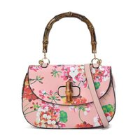 bamboo handle handbags - 2016 Spring Retro Design Women Shoulder Bag PU Leather Printing Flowers Bamboo Joint Handle Crossbody Bag For Women s Handbag