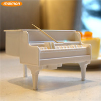 Wholesale 60 pieces Novelty White Piano Automatic Toothpicks Dispenser UV Disinfecting Toothpick Holder Box Table Decor Accessories
