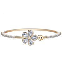 arrival directions - New Arrival AAA Cubic Zircon Shine Rhinestone Bracelet Bangle Gold Plated Flower Pulseras Bijoux One Direction