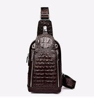 Wholesale 4 Colors New Arrival European Leather Casual Mens Three dimensional Pattern Crocodile Head Chest Header Layer of Leather Man Bag Messenger