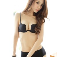 Wholesale Sexy Lady s Low Cut Spandex Deep U Plunge Shaped Bra Halter Push Up Bra