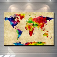 Cheap Abstract Watercolor map of the world painting picture canvas poster Home Bar Pub Garage Art Decorative Print Canvas Painting 60*40cm