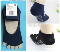 Wholesale Free DHL Fitness Five Toe Cotton Warm Candy Yoga Gym Non Slip Pure Color Massage Toe Sports Socks Full Grip Cotton Socks E694L