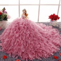 Wholesale Instock wedding barbie dolls top grade organza soft tulle flower princess barbie dolls