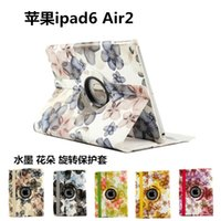 apple ipad tablet sales - tablet case cover flora printing rotating stand folio leather case for Ipad air pro colors hot sale