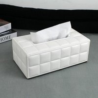 bamboo extract - fashion modern rectangle leather extracted removable tissue box napkin holder case stitch plaid white C