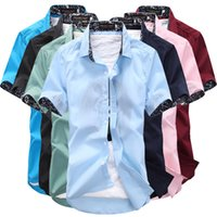 Wholesale 2016 summer men s short sleeved shirt solid color Slim thin section of young students summer shirt M XL