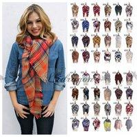 basic acrylic colors - 80 colors Winter New Tartan Scarf Plaid Blanket Scarf New Designer Unisex Acrylic Basic Shawls Women s Scarves Big Size CM M219