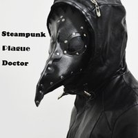 beak costume - Dr Beulenpest Steampunk Plague Doctor Mask Beak Masks Steampunk Black PU Birds Halloween Art cosplay Carnaval Costume men