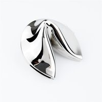 Wholesale Fortune Cookie Sliver Trinket Box Metal Alloy Jewelry Box Wedding Favors Gift Box Souvenir Gift Keepsake