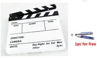 Wholesale Lightupfoto Factory outlet Clapperboard TV Film Movie Director Slate Black White with a free pen film clapperboard PAV1BEP
