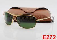 achat en gros de femmes de lunettes de mode-1pcs meilleures ventes Mode Rectangle Lunettes de soleil pour les lentilles des femmes des hommes Lunettes Lunettes de soleil en verre Métal Or avec de meilleurs cas et Box