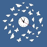 best room decoration - 2016 Wall Clocks Butterfly Hot Sale DIY Acrylic Clock Home Decoration Living Room Mirror Art Watch Wall Best Gift