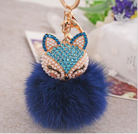 antique pink diamond - 300pcs High Quality Hot Diamond Fox Rabbit Fur Ball Alloy Keychain Fashion Bag Ornaments Auto Accessories Pendant Gifts Plush Car Keychain