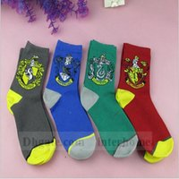 Wholesale Harry Potter Socks Ravenclaw Gryffindor Hosiery Slytherin Hufflepuff Socks Cosplay Costume Socks School Striped Badge Socks Gift New B1104