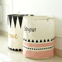 Wholesale Cotton Linen Zakka Toy Storage Laundry Basket Large Capacity Cute Black Pink Triangle With Handle Fold Bin x50cm