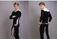 Cheap Wholesale-Men Underwear U Convex Pouch Different Color Stitching Comfort Modal Thermal Underwear Sets Long Johns