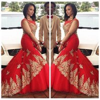 Wholesale Red Sheer Scoop Neck Mermaid Evening Dresses Negeria Style With Gold Lace Appliques Prom Party Gowns Slim Black Girls Cheap