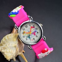 Wholesale Children Analog Wrist Watch - 3D Cartoon Lovely Kids Girls Boys Children Students Hello Kitty Quartz Wrist Watch Very Popular