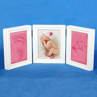 baby casting - 4 Colors Photo Frame Newly Born Baby Foot Hand Print Cast Set Christening Gift Inks Fingerprints Inkpad Gifts New Hot Selling