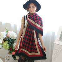 Wholesale 2016 new winter cashmere imitation diamond lattice scarf shawl scarf scarf fringed dual use woman cappa PC set