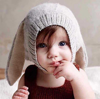 Girl Winter Crochet Hats Brand New Baby's Crochet Hats With 3D Rabbit Ears Knitted Material Two Colors Baby Kids Girl Boy Knitted Caps for Winter
