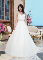 Wholesale Sincerity Sheer Beaded Straps A Line Wedding Dresses V Neck and V Back Tulle Skirt Court Train Elegant Corset Bridal Gowns