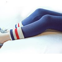 Wholesale New Kids Girls Knitted Candy Leggings Pants Stripes Patchwork Winter Fall Cute Baby Children Pants