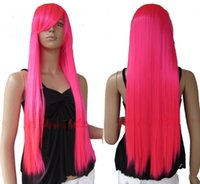 Wholesale cheap cm inch Heat Resistent Long Bright Pink Straight Cosplay Party Hair Wig