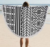 Wholesale Popular bohemia tassel knitted beach towel round cm creative geometric print cotton beach blanket pad black