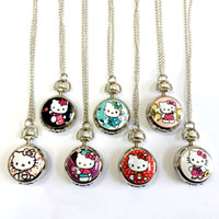 american stationary - New hot pretty girl cat flower The American flag pocket watches necklace Halloween christmas gift
