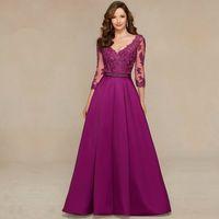 Wholesale Elegant A line V neck Half Sleeve Appliques Backless Evening Party Chiffon vestidos de formatura Purple Long Prom Dresses