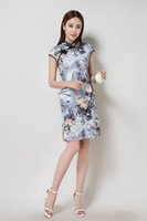 Wholesale special chinese comfortable popular ethnic style grace temperament A variety of color Show perfect figure Summer wear silk double QIPAO