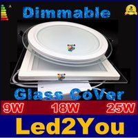 Wholesale Dimmable Glass Panel Led Lighs W W W Led Panel Light Round Square Shell Glass Led Downlights IP44 AC V