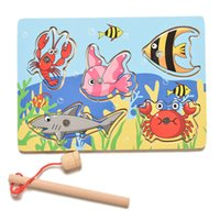 Wholesale High quality Wooden mini ocean fun of the preschool magnetic fishing toy parent child toys