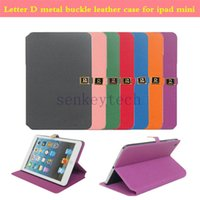 apples coffee - Luxury leather iPad case PU plastic stand holder folding smart cover with letter D metal buckle for iPad mini