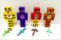 Wholesale FNAF Five Nights At Freddy s Buliding Blocks Figures Toy Bear Bonnie Freddy Freddy Blocks Weapon set inch