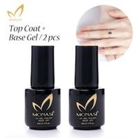 Wholesale 2PCS Monasi no wipe top coat base coat nail polish high quality uv primer led gel polish