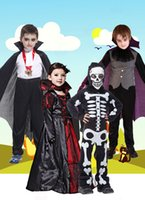 Wholesale 2016 Halloween Girls boy Costumes Vampire Queen Children Costume Halloween Kids Black Lace Party Dress Necklace Set Boy Couple Clothing