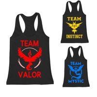 Wholesale Poke Go Team Men Vest Tank Tops Valor Team Mystic Team Instinct Pokeball Men Fitness Gym Workout Vest Tank Tops Hot Sale T Shirts