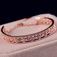 Wholesale Hollow out crystal flower rose gold plated bracelet women bijoux new bracelets bangles gift fashion jewelry