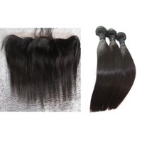 Wholesale bundles with lace frontal real hair weaves with closure freestyle lace closures straight Brazilian hair natural color