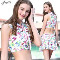 Wholesale Jin Xueer Swimming suit woman chest gather together Cover the belly conservative Show thin dew Navel twinset fission full skirt Swimwear DG