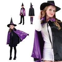 beauty hat - New Fashion Halloween Costume Cosplay Witch Hat Witch Cloak Double Cloak for Kids Adult