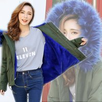 Wholesale 2016 New Women Winter Army Green Jacket Coats Thick Parkas Plus Size Real Raccoon Fur Collar Hooded Outwear M XL Day Delivery time